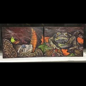 Snake and Frog Split Paintings Original Wall Art